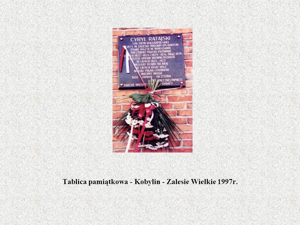 Tablica pamiątkowa - Kobylin - Zalesie Wielkie 1997r.