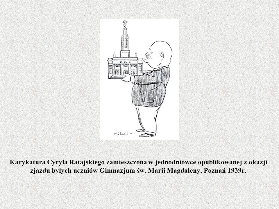 Karykatura Cyryla Ratajskiego zamieszczona w jednodniówce opublikowanej z okazji zjazdu byłych uczniów Gimnazjum św.