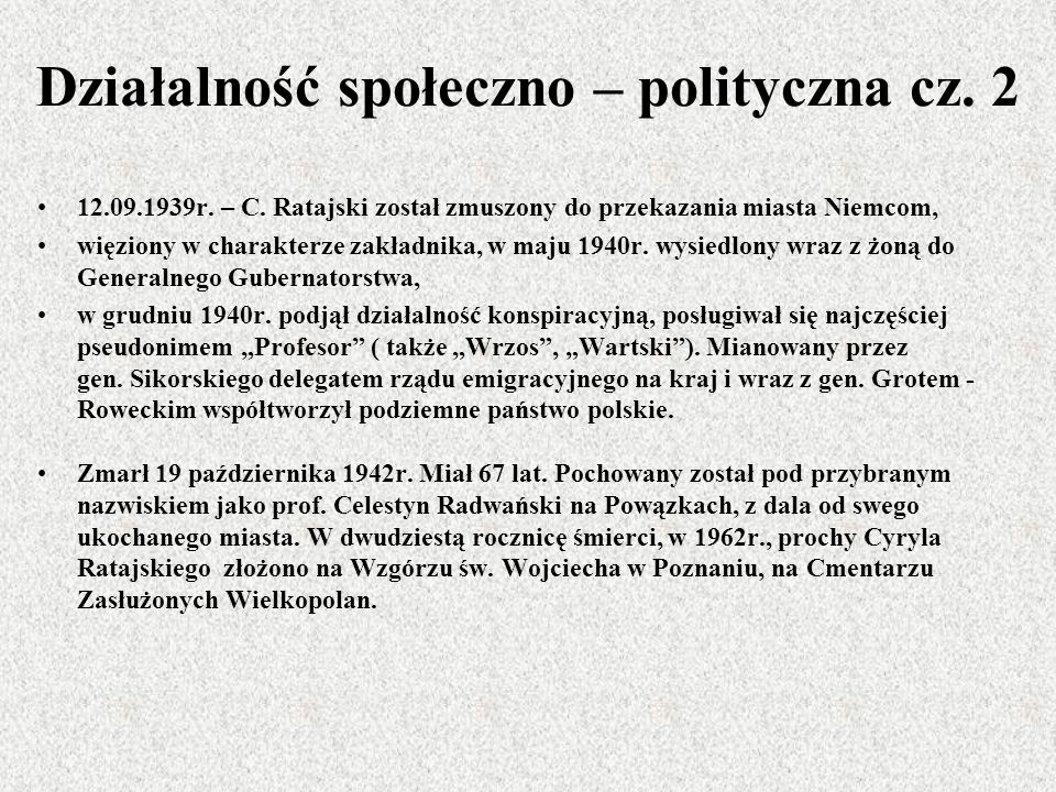 Działalność społeczno – polityczna cz. 2