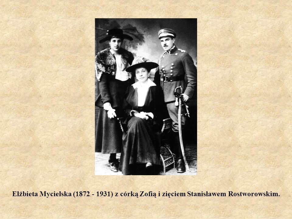 Elżbieta Mycielska (1872 - 1931) z córką Zofią i zięciem Stanisławem Rostworowskim.
