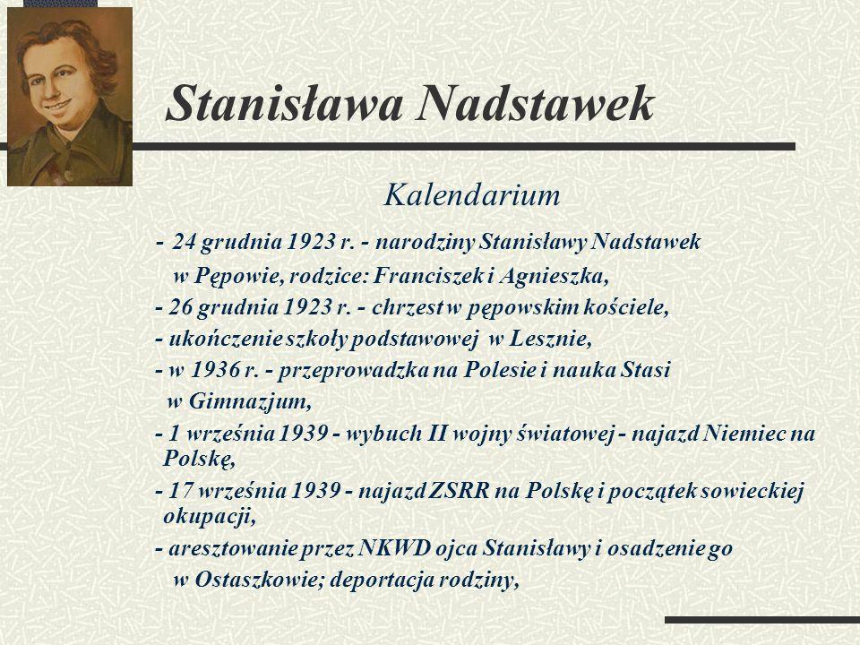 Stanisława Nadstawek Kalendarium
