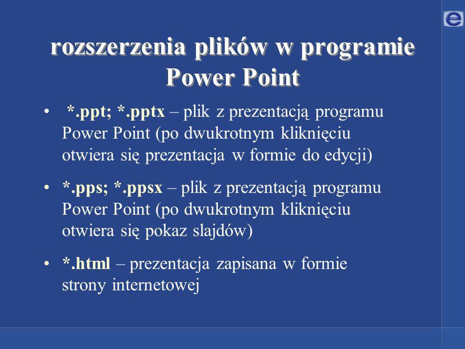 rozszerzenia plików w programie Power Point