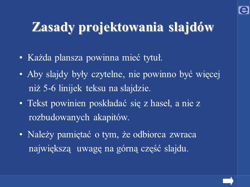 Zasady projektowania slajdów