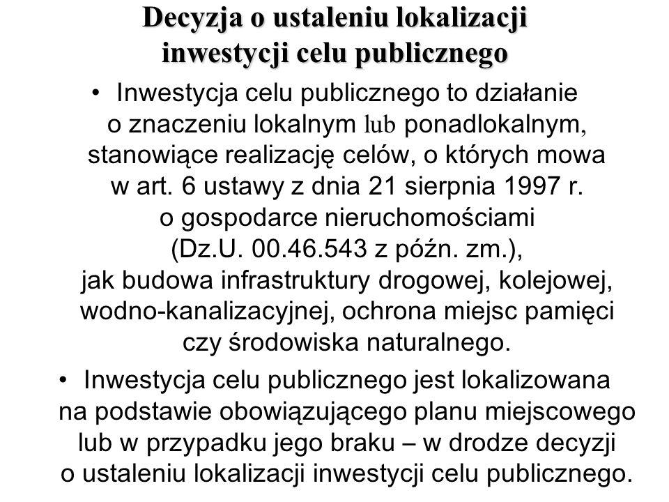 Decyzja o ustaleniu lokalizacji inwestycji celu publicznego