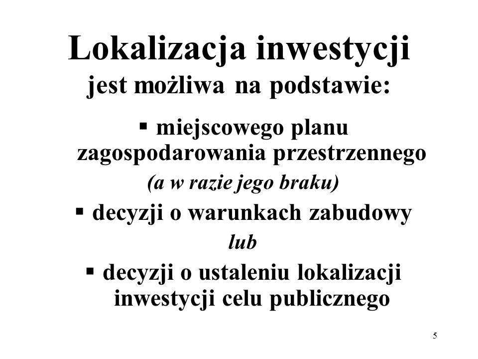 Lokalizacja inwestycji jest możliwa na podstawie: