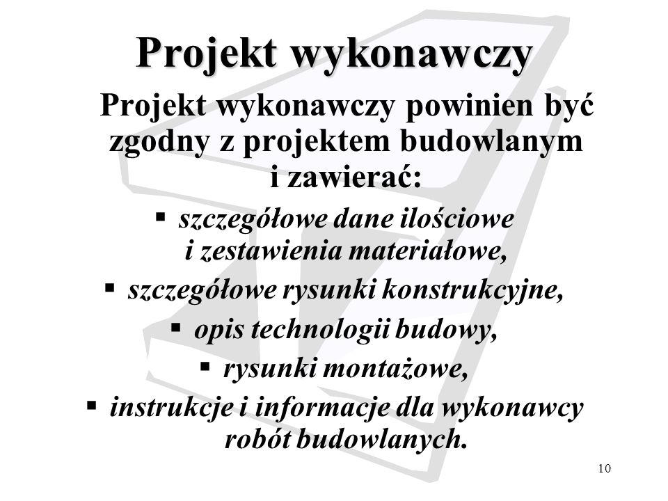 Projekt wykonawczy Projekt wykonawczy powinien być zgodny z projektem budowlanym i zawierać: szczegółowe dane ilościowe i zestawienia materiałowe,