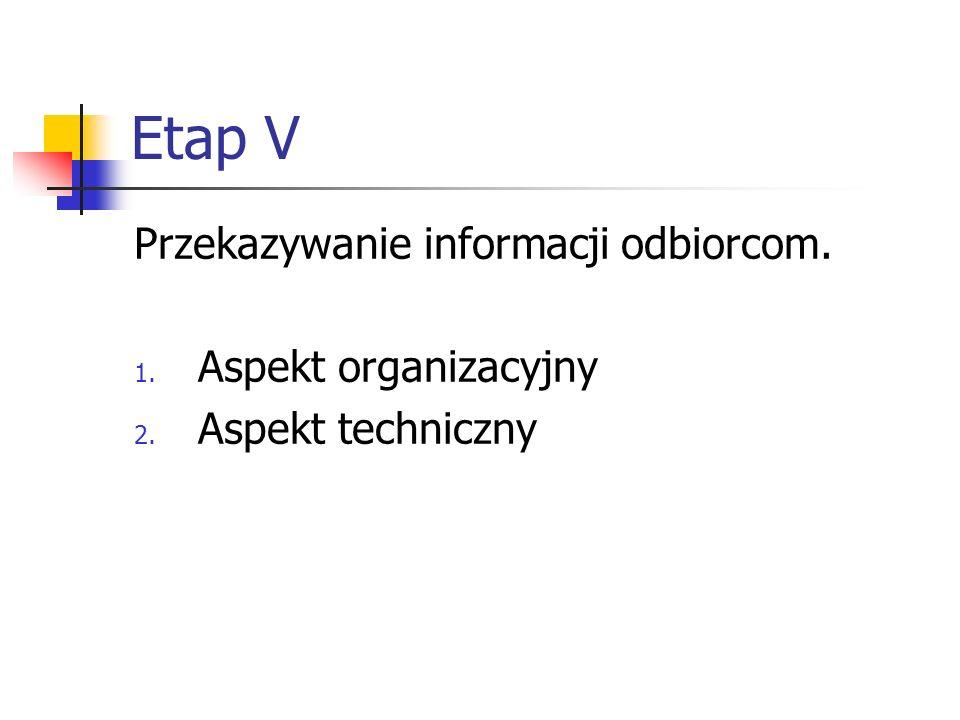 Etap V Przekazywanie informacji odbiorcom. Aspekt organizacyjny