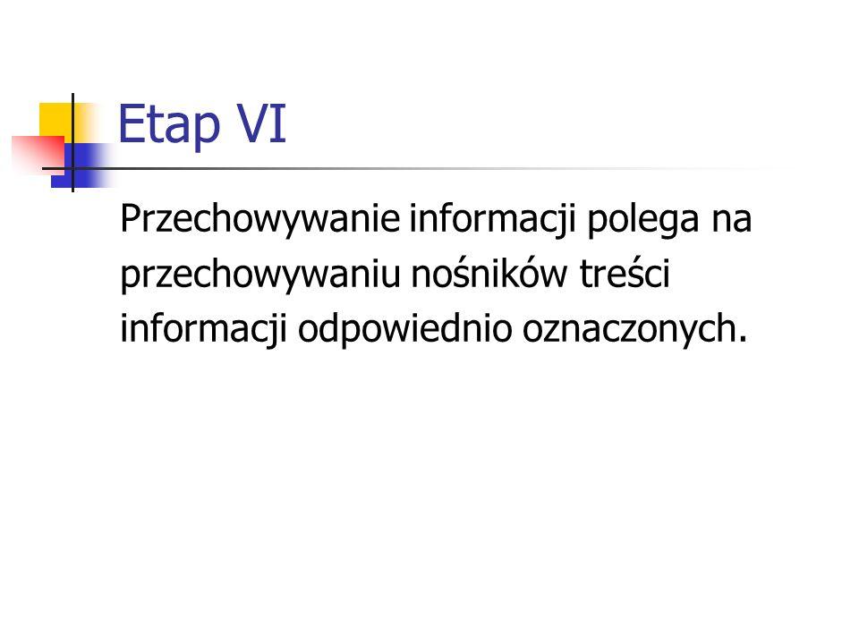Etap VI Przechowywanie informacji polega na