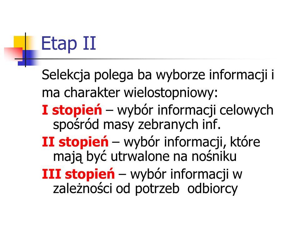 Etap II Selekcja polega ba wyborze informacji i