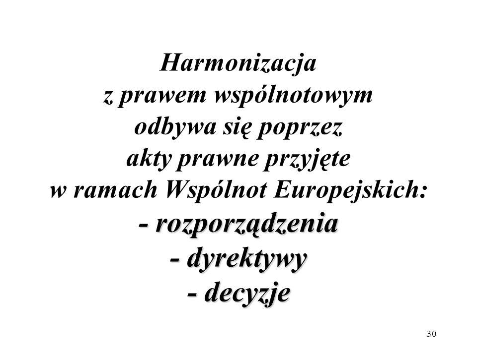 Harmonizacja z prawem wspólnotowym odbywa się poprzez akty prawne przyjęte w ramach Wspólnot Europejskich: - rozporządzenia - dyrektywy - decyzje