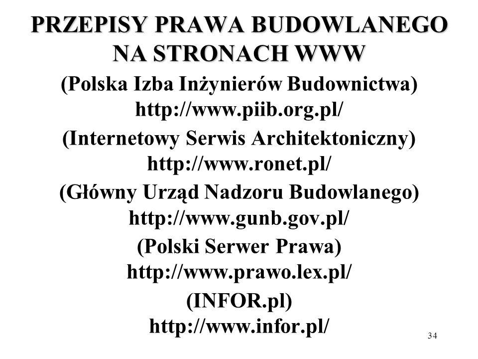 PRZEPISY PRAWA BUDOWLANEGO NA STRONACH WWW (Polska Izba Inżynierów Budownictwa) http://www.piib.org.pl/ (Internetowy Serwis Architektoniczny) http://www.ronet.pl/ (Główny Urząd Nadzoru Budowlanego) http://www.gunb.gov.pl/ (Polski Serwer Prawa) http://www.prawo.lex.pl/ (INFOR.pl) http://www.infor.pl/
