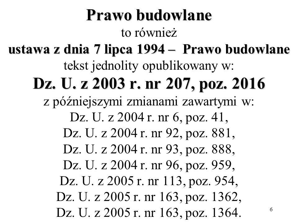Prawo budowlane to również ustawa z dnia 7 lipca 1994 – Prawo budowlane tekst jednolity opublikowany w: Dz.