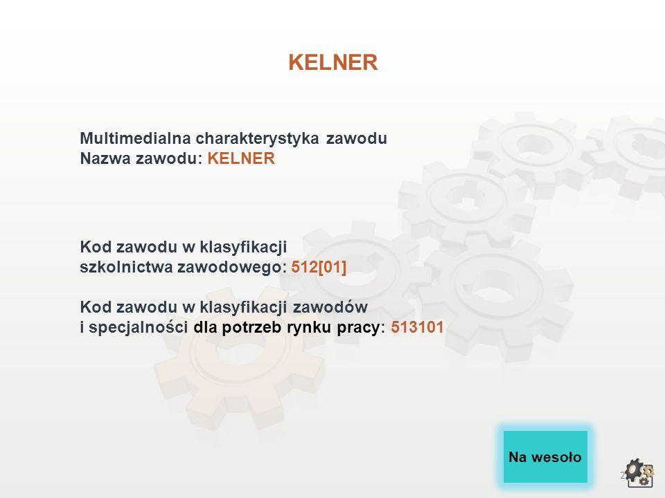 KELNER Multimedialna charakterystyka zawodu Nazwa zawodu: KELNER