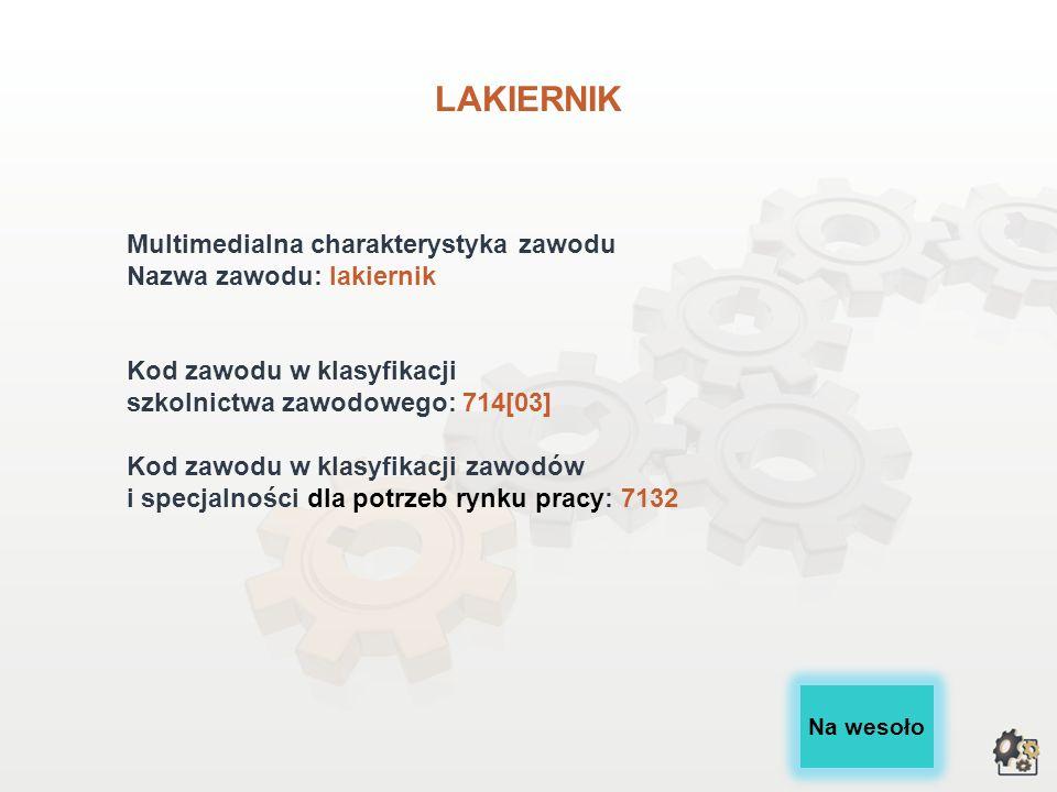 LAKIERNIK Multimedialna charakterystyka zawodu Nazwa zawodu: lakiernik