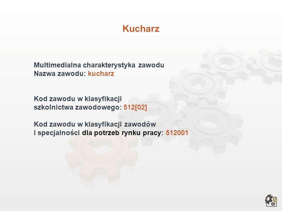 Kucharz Multimedialna charakterystyka zawodu Nazwa zawodu: kucharz