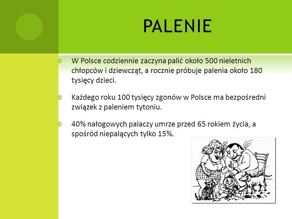 PALENIE W Polsce codziennie zaczyna palić około 500 nieletnich chłopców i dziewcząt, a rocznie próbuje palenia około 180 tysięcy dzieci.