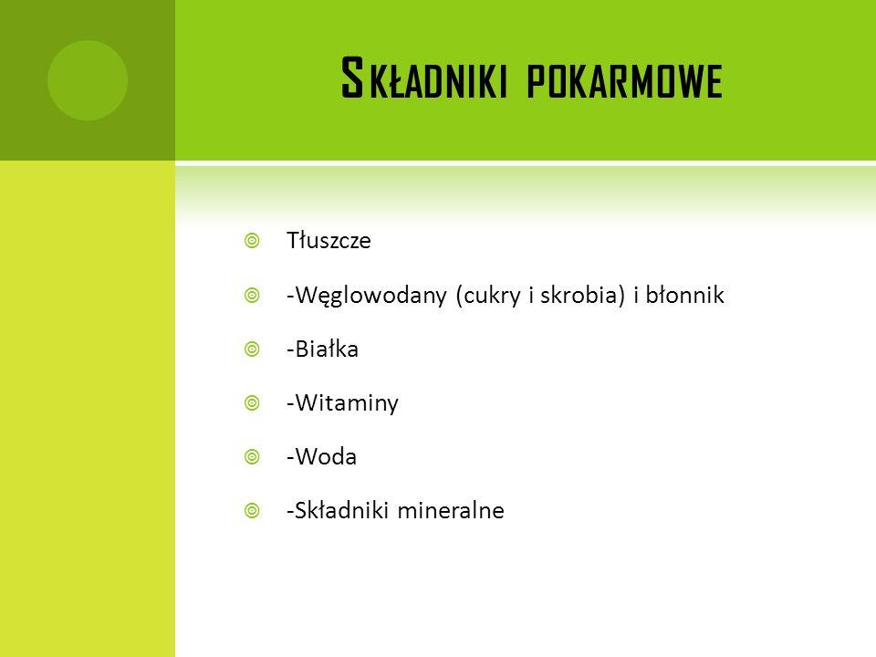 Składniki pokarmowe Tłuszcze -Węglowodany (cukry i skrobia) i błonnik
