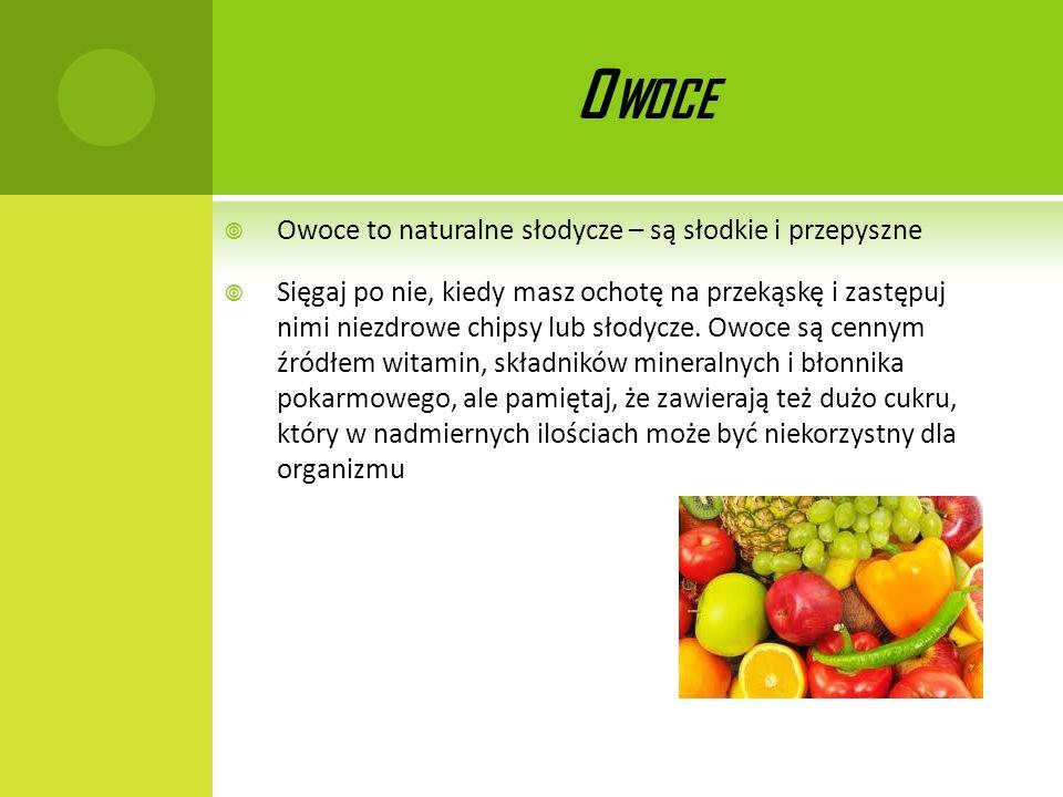 Owoce Owoce to naturalne słodycze – są słodkie i przepyszne