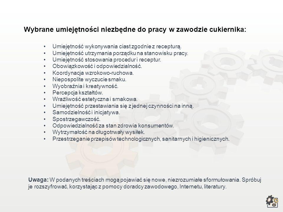 Wybrane umiejętności niezbędne do pracy w zawodzie cukiernika: