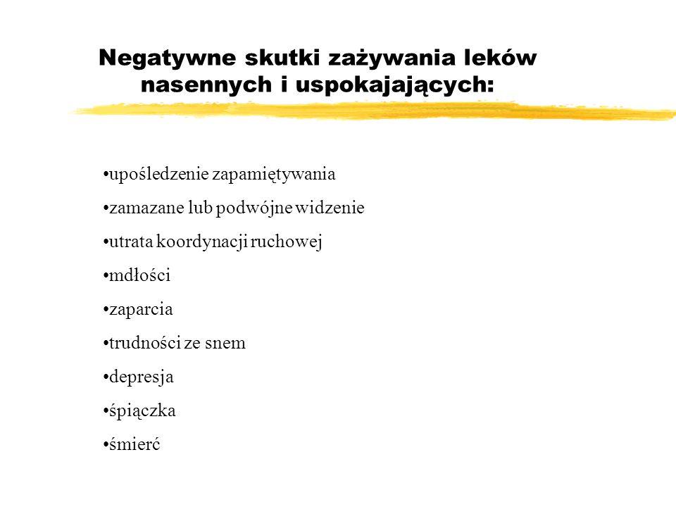 Negatywne skutki zażywania leków nasennych i uspokajających: