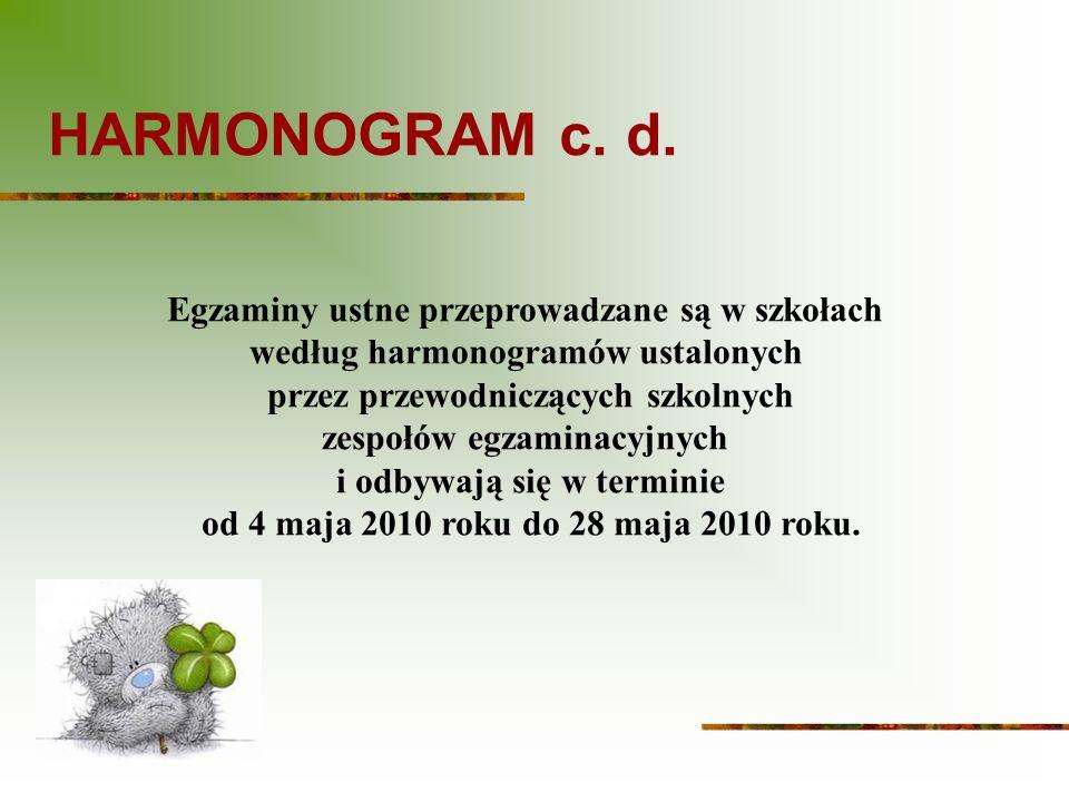 HARMONOGRAM c. d. Egzaminy ustne przeprowadzane są w szkołach