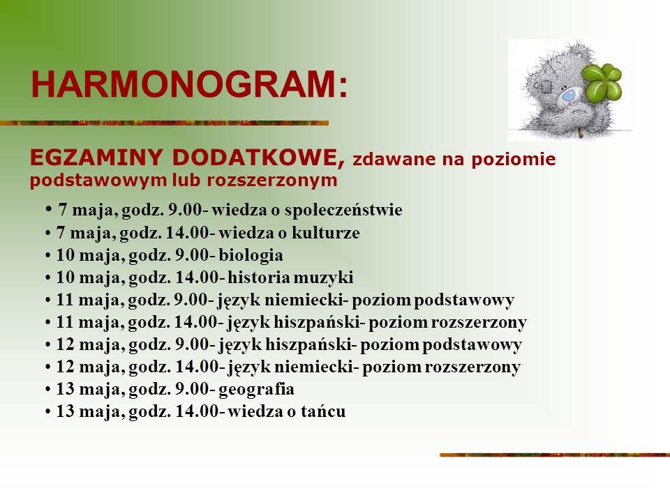 HARMONOGRAM: EGZAMINY DODATKOWE, zdawane na poziomie podstawowym lub rozszerzonym. 7 maja, godz. 9.00- wiedza o społeczeństwie.