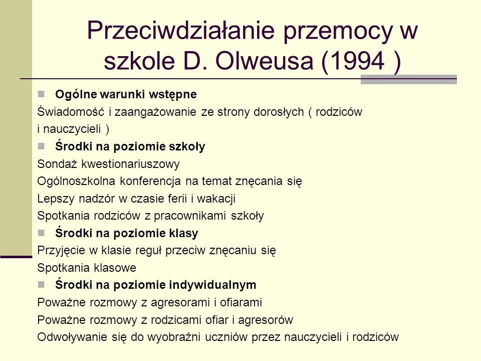 Przeciwdziałanie przemocy w szkole D. Olweusa (1994 )