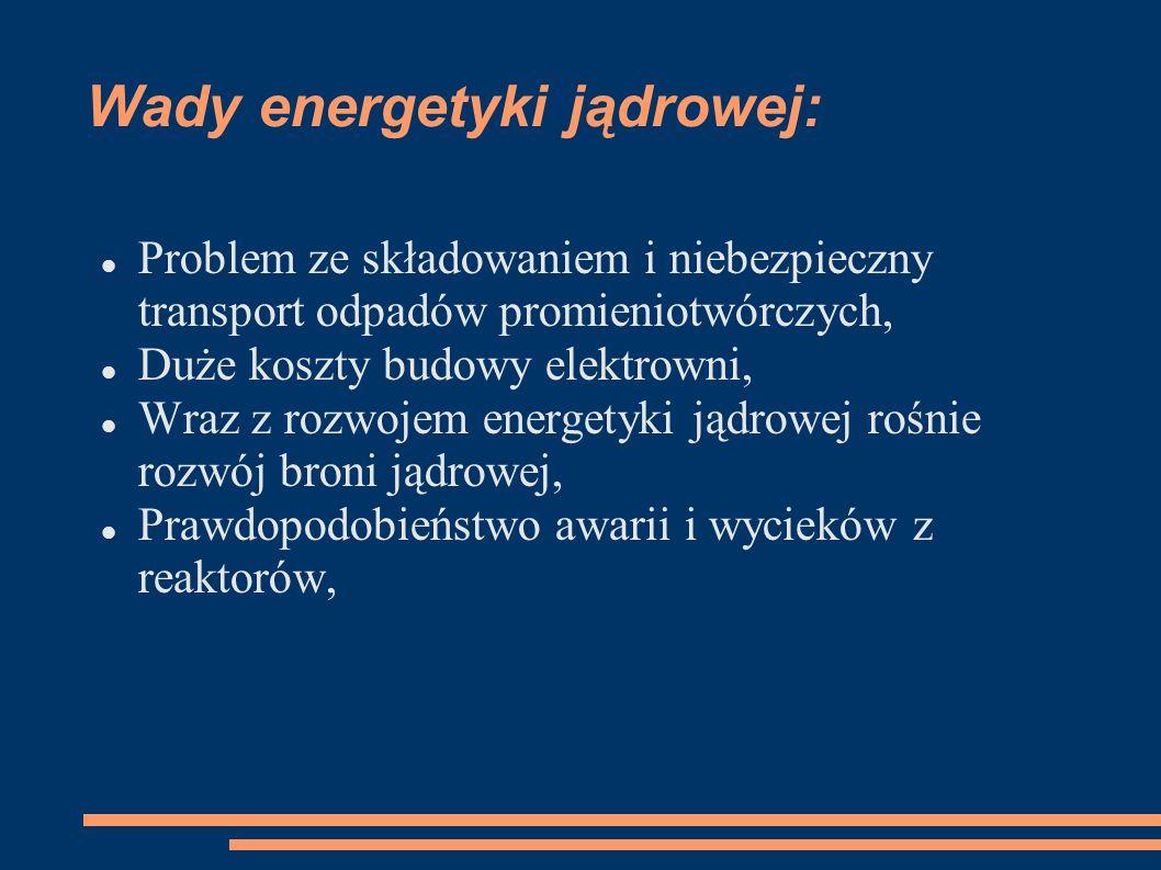 Wady energetyki jądrowej: