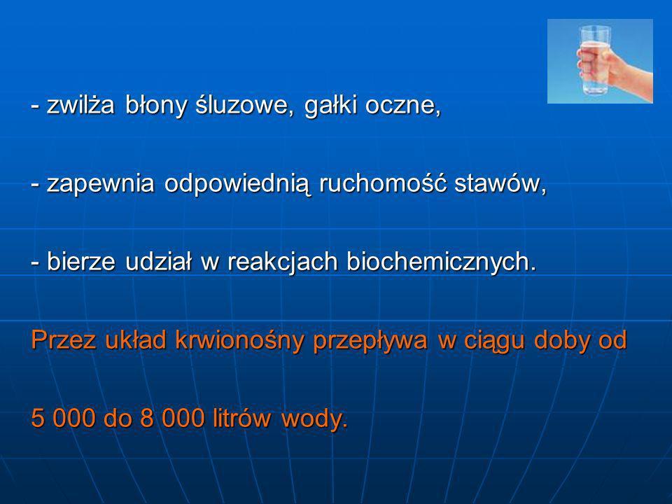 zwilża błony śluzowe, gałki oczne, - zapewnia odpowiednią ruchomość stawów, - bierze udział w reakcjach biochemicznych.