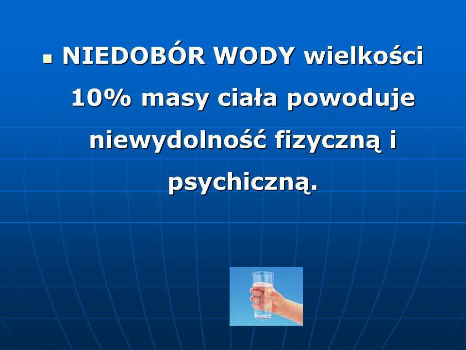 NIEDOBÓR WODY wielkości 10% masy ciała powoduje niewydolność fizyczną i psychiczną.