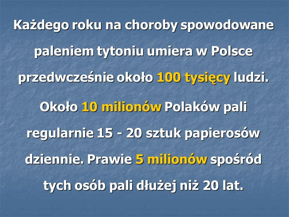 Każdego roku na choroby spowodowane paleniem tytoniu umiera w Polsce przedwcześnie około 100 tysięcy ludzi.