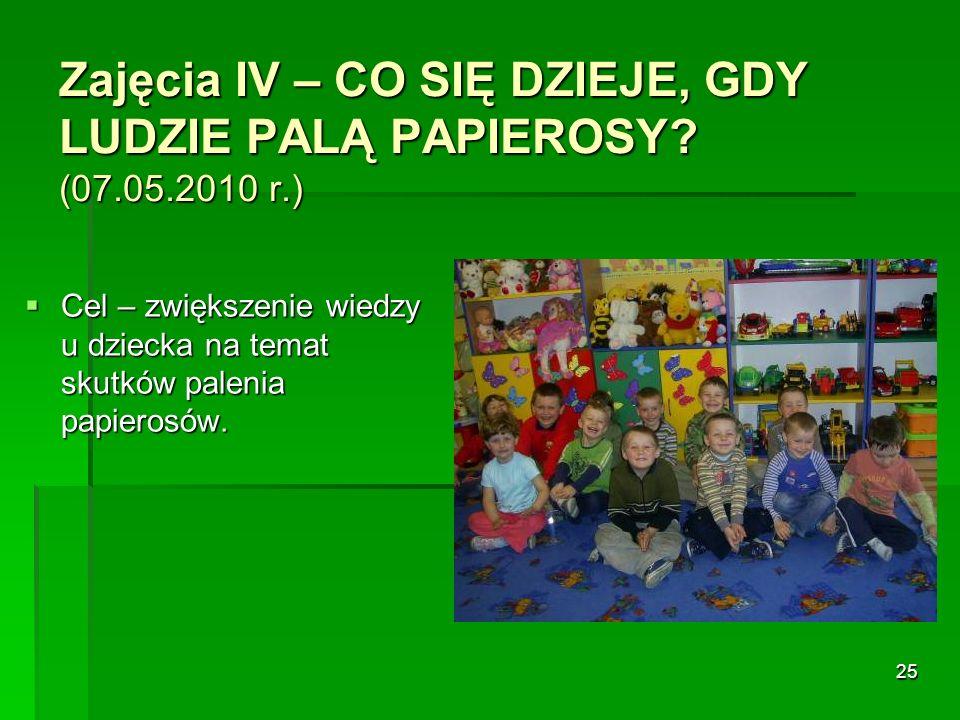 Zajęcia IV – CO SIĘ DZIEJE, GDY LUDZIE PALĄ PAPIEROSY (07.05.2010 r.)