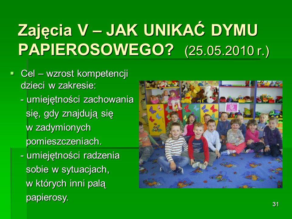 Zajęcia V – JAK UNIKAĆ DYMU PAPIEROSOWEGO (25.05.2010 r.)