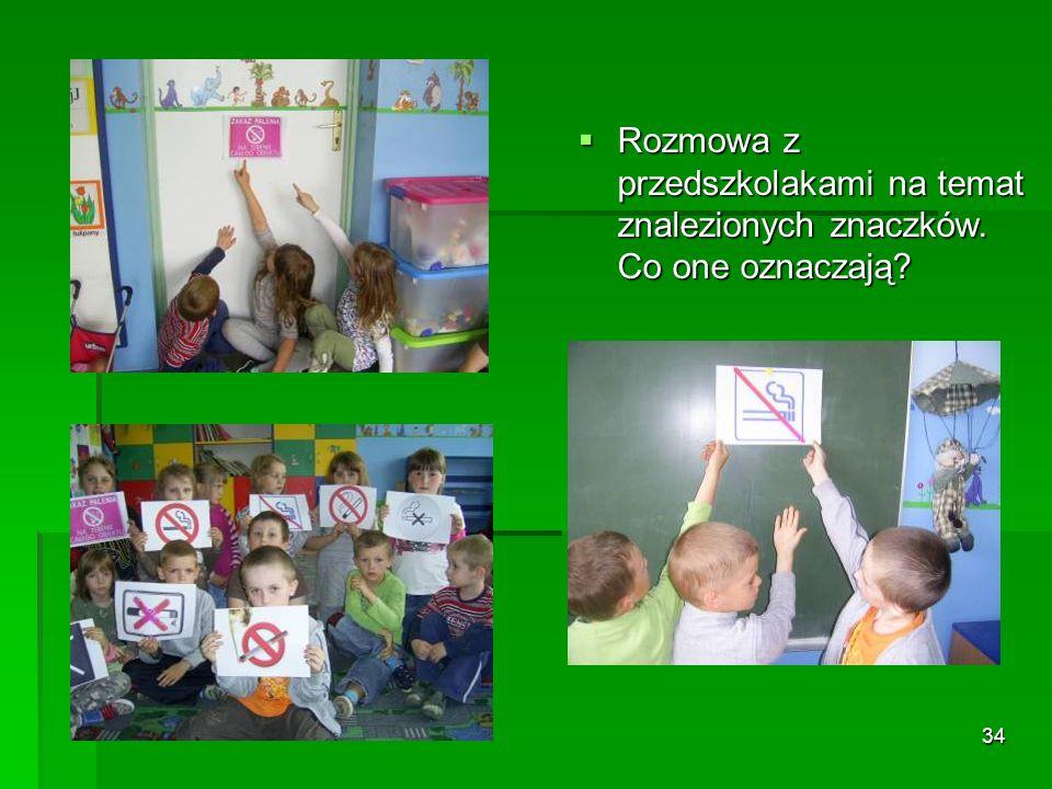 Rozmowa z przedszkolakami na temat znalezionych znaczków