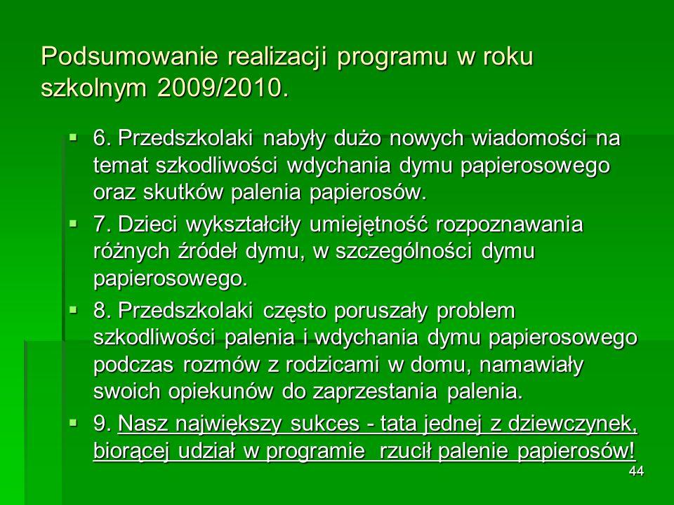 Podsumowanie realizacji programu w roku szkolnym 2009/2010.