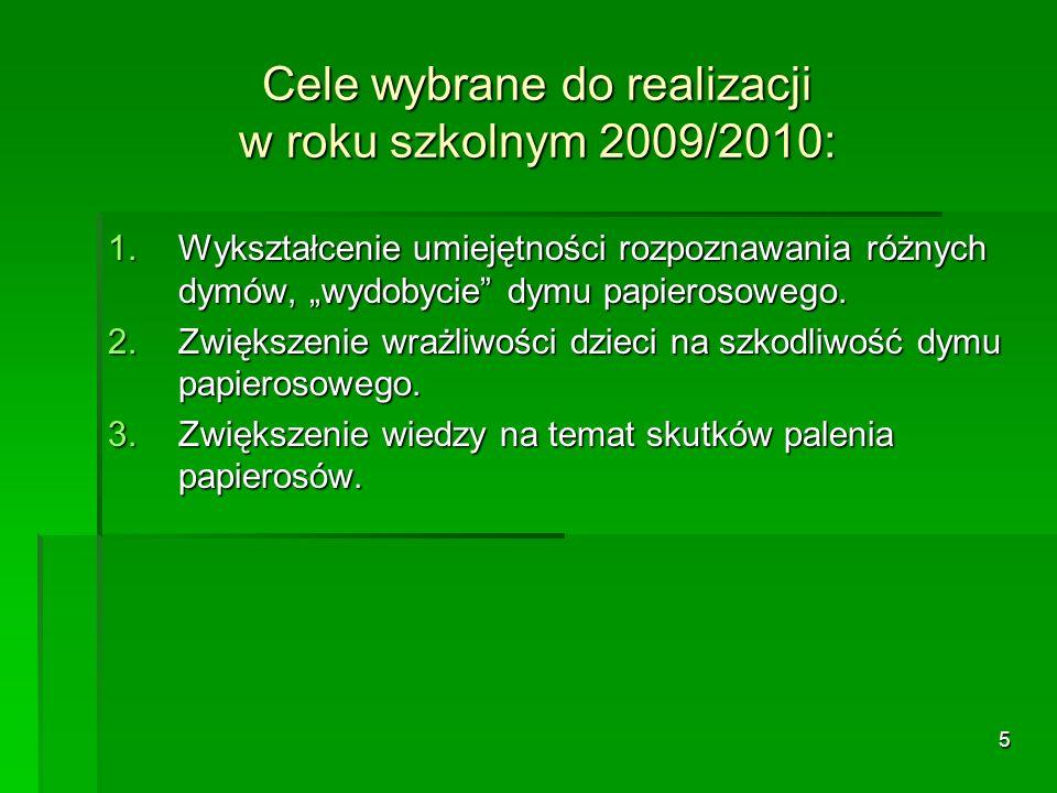 Cele wybrane do realizacji w roku szkolnym 2009/2010: