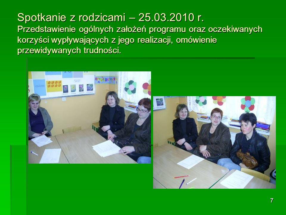 Spotkanie z rodzicami – 25. 03. 2010 r