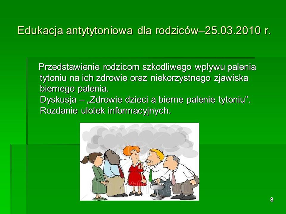 Edukacja antytytoniowa dla rodziców–25.03.2010 r.