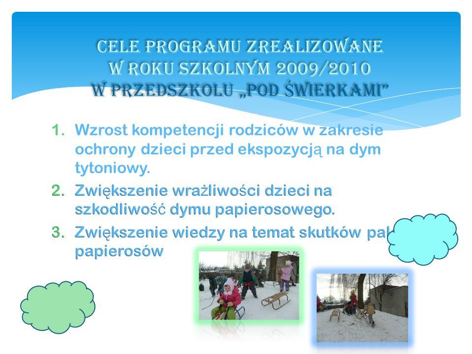 """CELE PROGRAMU ZREALIZOWANE W ROKU SZKOLNYM 2009/2010 w przedszkolu """"pod Świerkami"""