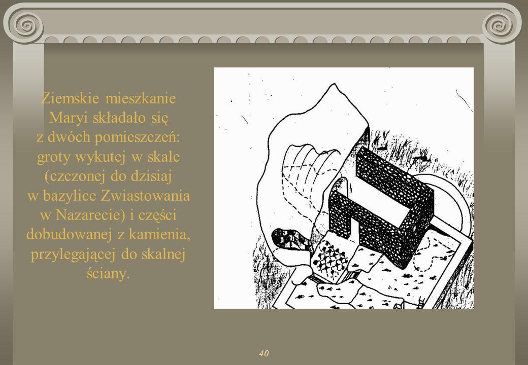 Ziemskie mieszkanie Maryi składało się z dwóch pomieszczeń: groty wykutej w skale (czczonej do dzisiaj w bazylice Zwiastowania w Nazarecie) i części dobudowanej z kamienia, przylegającej do skalnej ściany.