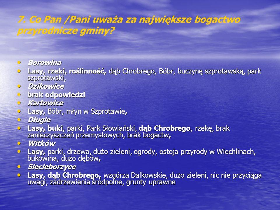 7. Co Pan /Pani uważa za największe bogactwo przyrodnicze gminy
