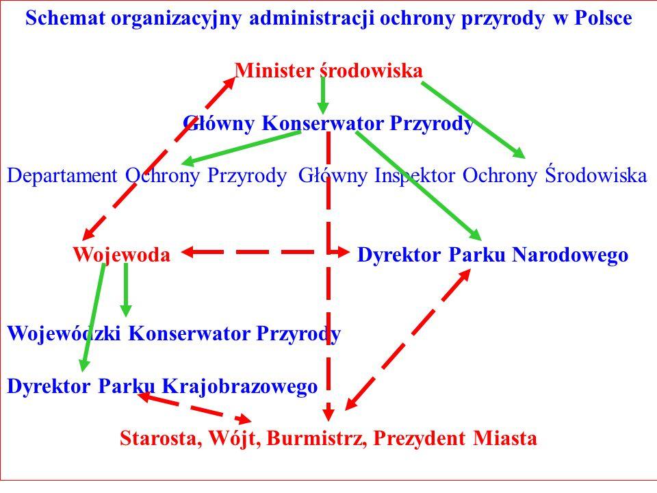 Schemat organizacyjny administracji ochrony przyrody w Polsce