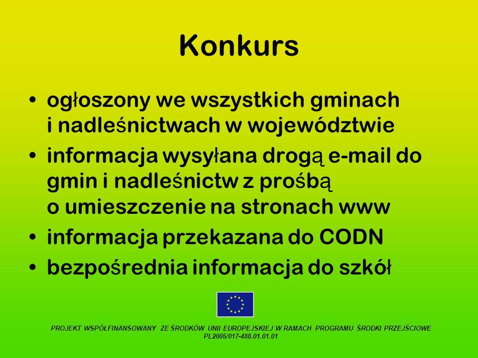 Konkursogłoszony we wszystkich gminach i nadleśnictwach w województwie.