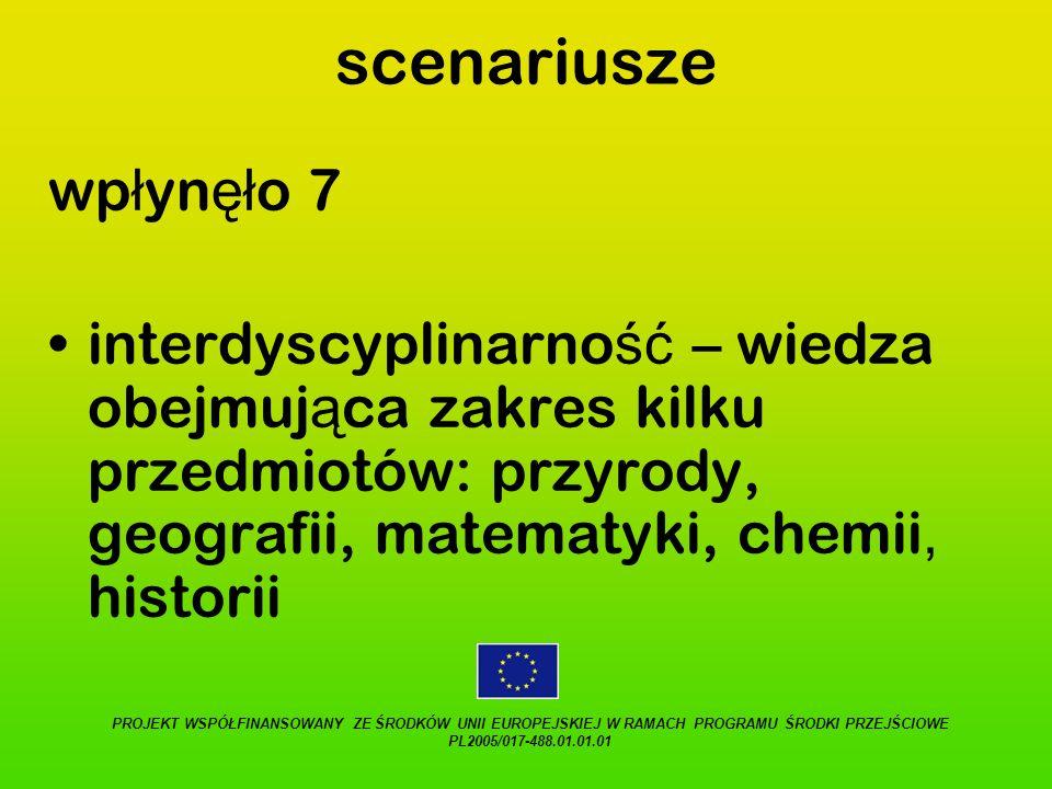 scenariusze wpłynęło 7. interdyscyplinarność – wiedza obejmująca zakres kilku przedmiotów: przyrody, geografii, matematyki, chemii, historii.