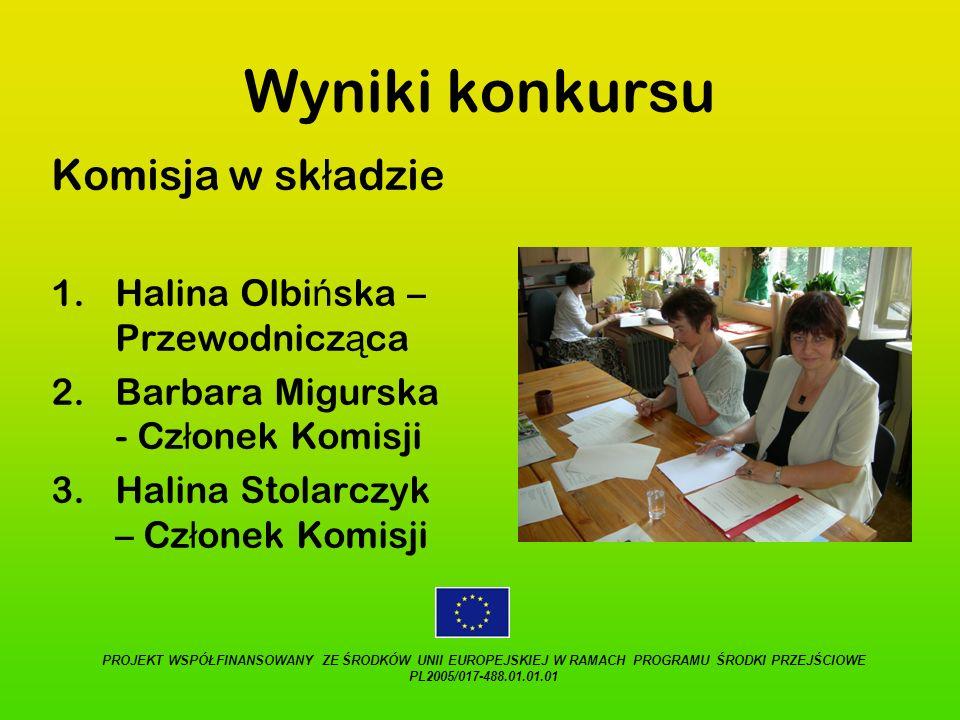 Wyniki konkursu Komisja w składzie Halina Olbińska – Przewodnicząca