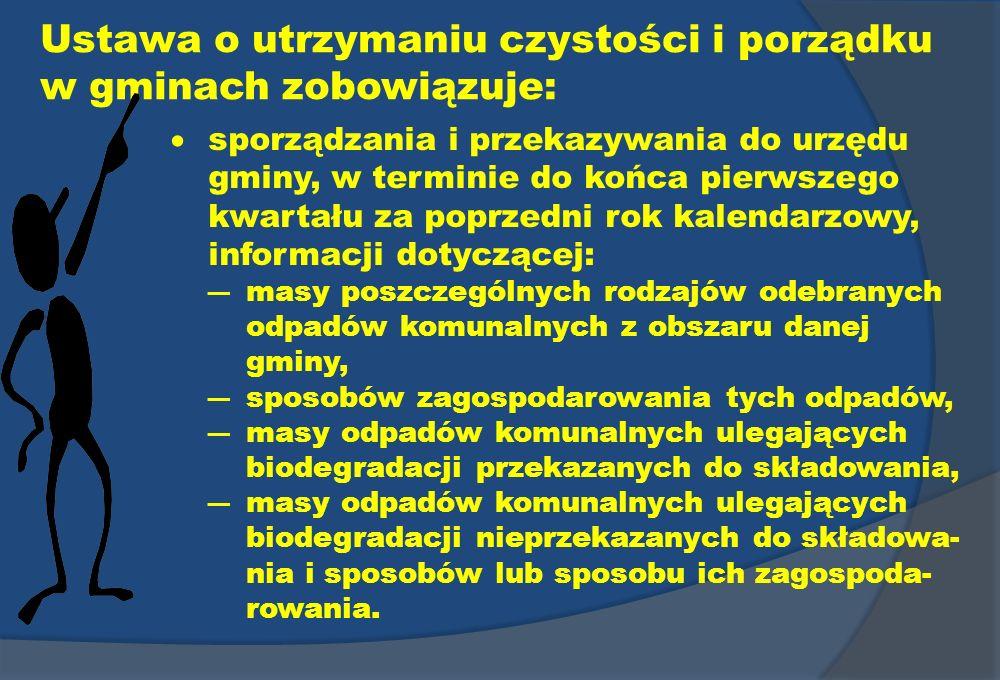 Ustawa o utrzymaniu czystości i porządku w gminach zobowiązuje: