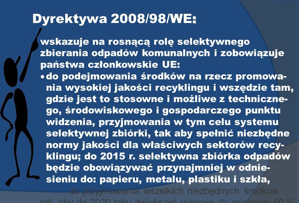 Dyrektywa 2008/98/WE: wskazuje na rosnącą rolę selektywnego zbierania odpadów komunalnych i zobowiązuje państwa członkowskie UE: