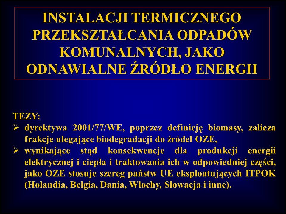 INSTALACJI TERMICZNEGO PRZEKSZTAŁCANIA ODPADÓW KOMUNALNYCH, JAKO ODNAWIALNE ŹRÓDŁO ENERGII