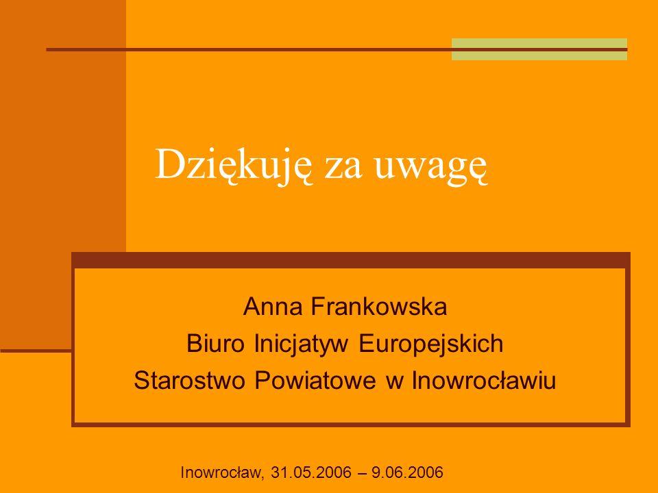 Dziękuję za uwagę Anna Frankowska Biuro Inicjatyw Europejskich