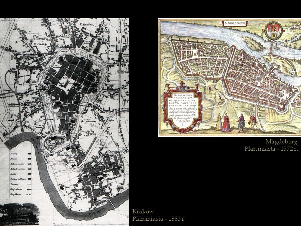 Magdeburg Plan miasta – 1572 r. Kraków Plan miasta – 1883 r.